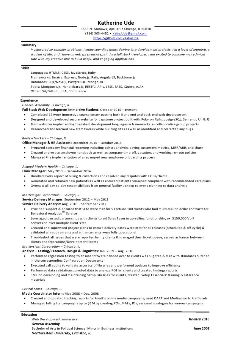 katherine ude resume photo web developer node js resume - Angularjs Developer Resume